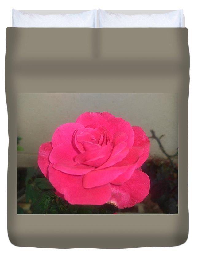 Duvet Cover featuring the photograph Pink Rose by Nimu Bajaj and Seema Devjani