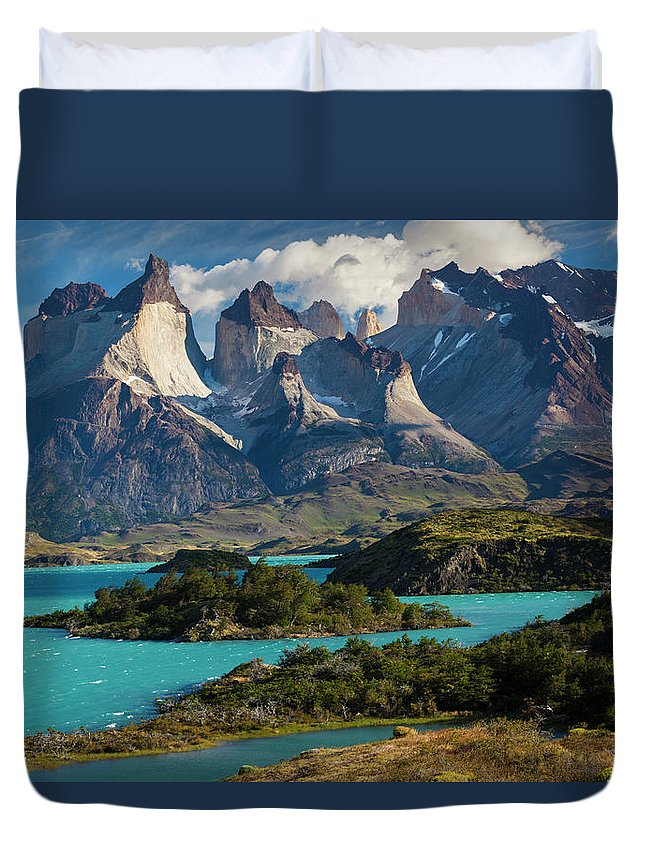 Scenics Duvet Cover featuring the photograph Chile, Torres Del Paine National Park by Walter Bibikow