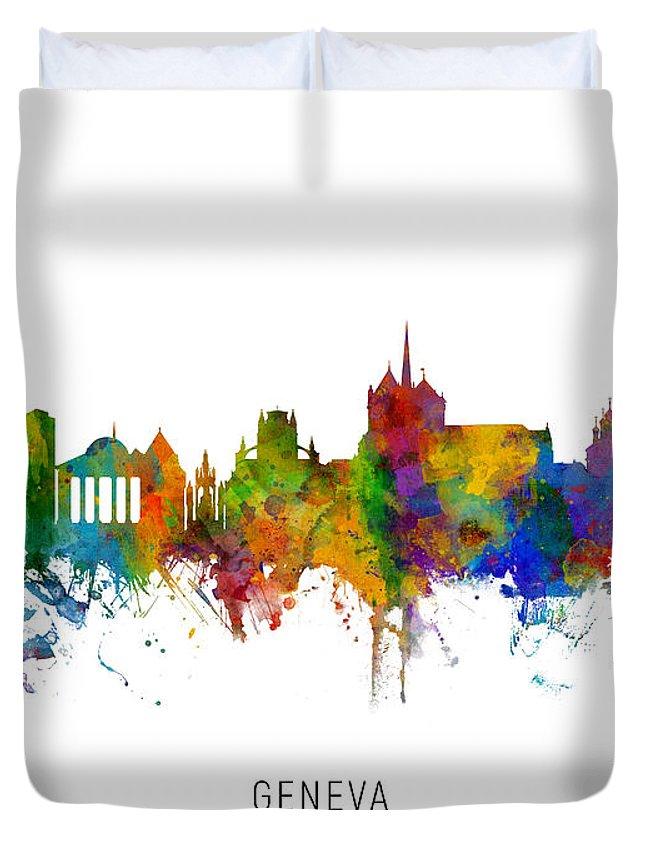 Geneva Duvet Cover featuring the digital art Geneva Switzerland Skyline by Michael Tompsett