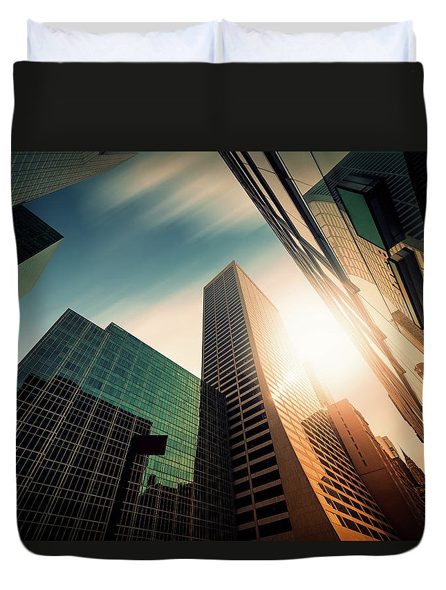 Working Duvet Cover featuring the photograph Office Skysraper In The Sun by Ppampicture