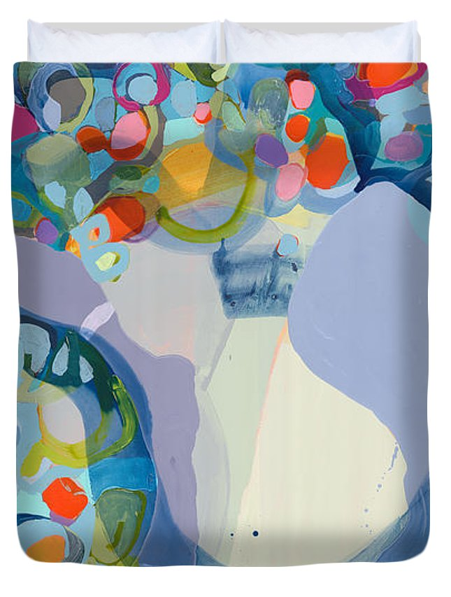 Abstract Duvet Cover featuring the painting 70 Degrees by Claire Desjardins