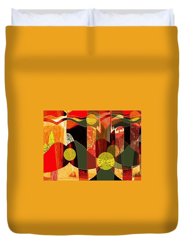 807 Duvet Cover featuring the painting 807 A Walk Through The Autumn Forest V 807 by Irmgard Schoendorf Welch