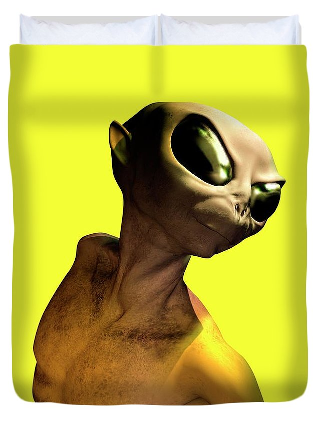 Looking Over Shoulder Duvet Cover featuring the digital art Alien, Artwork by Victor Habbick Visions
