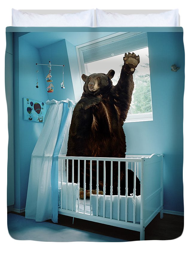 Out Of Context Duvet Cover featuring the photograph A Bear Inside A Crib In A Blue Room by Matthias Clamer