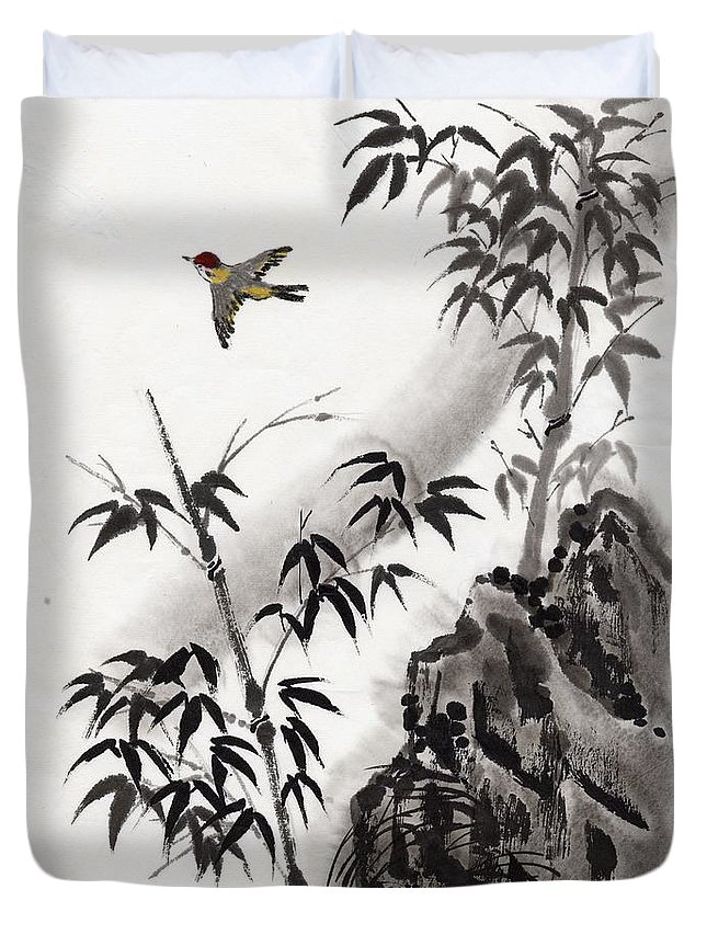 Scenics Duvet Cover featuring the digital art A Bird And Bamboo Leaves, Ink Painting by Daj