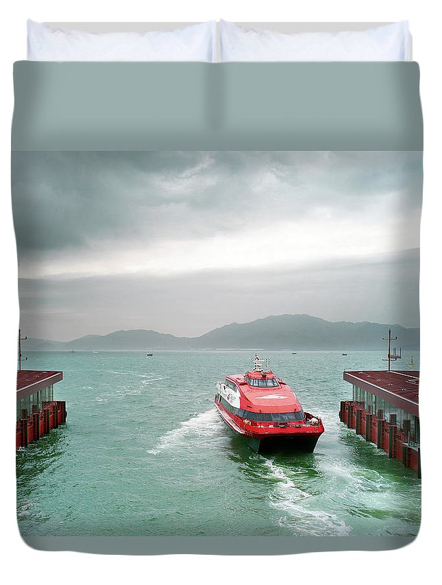 Macao Duvet Cover featuring the photograph A Catamaran Ferry Docks At A Port by Xpacifica