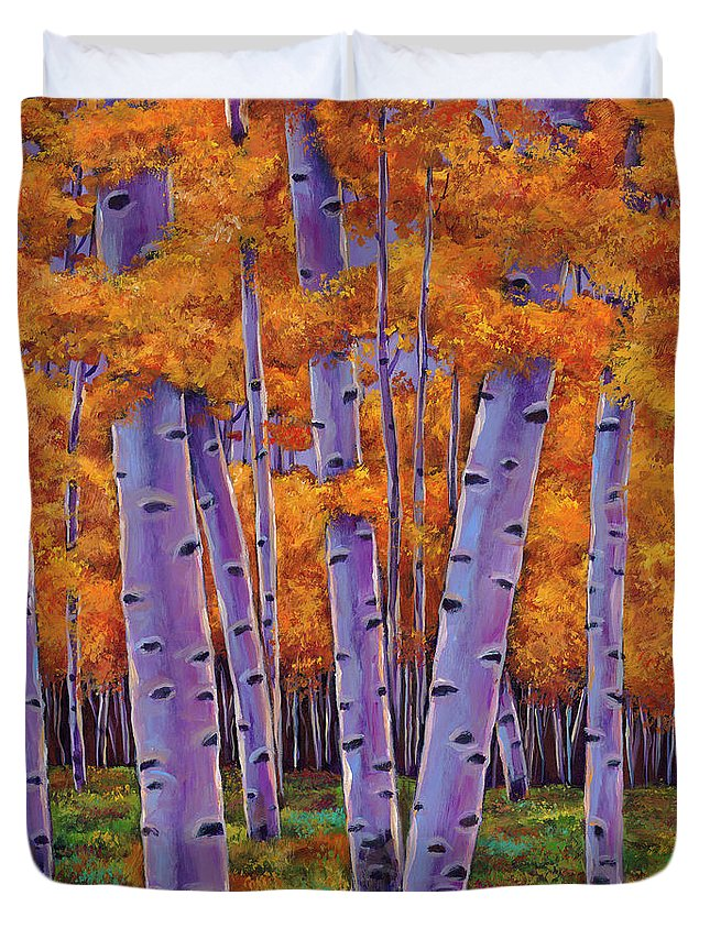 Aspen Trees Duvet Cover featuring the painting A Chance Encounter by Johnathan Harris