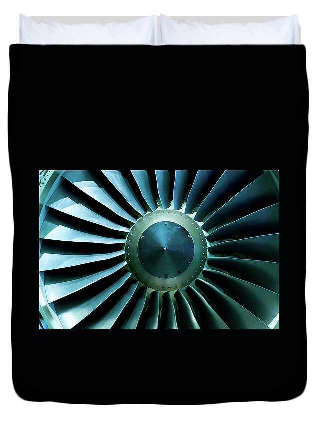 Material Duvet Cover featuring the photograph A Close Of Up A Turbine Showing The by Brasil2