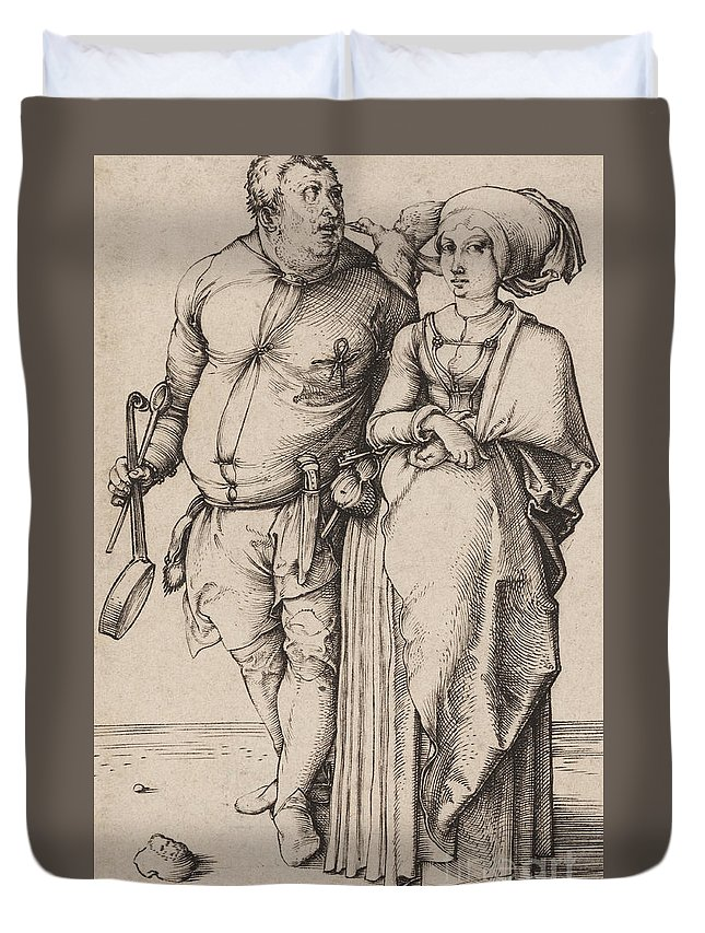 A Cook And His Wife Duvet Cover featuring the drawing A Cook And His Wife by Albrecht Durer