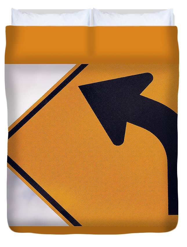 Curve Duvet Cover featuring the photograph A Curve Ahead Road Sign Warning by Martin Ruegner