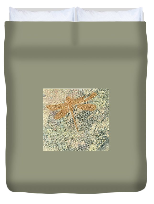 Clay Monoprint Duvet Cover featuring the mixed media A Delicate Web by Susan Richards
