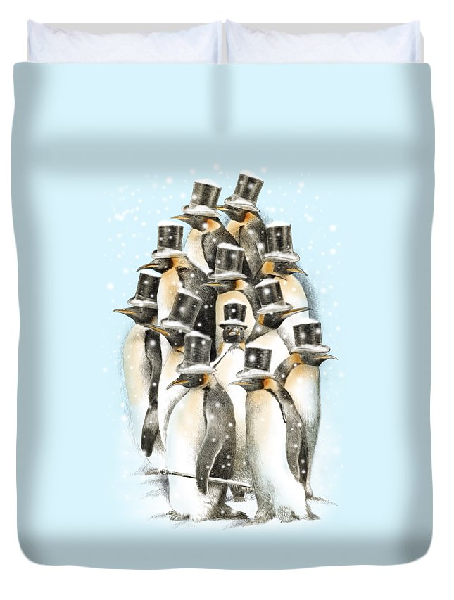 Penguins Duvet Cover featuring the drawing A Gathering in the Snow by Eric Fan