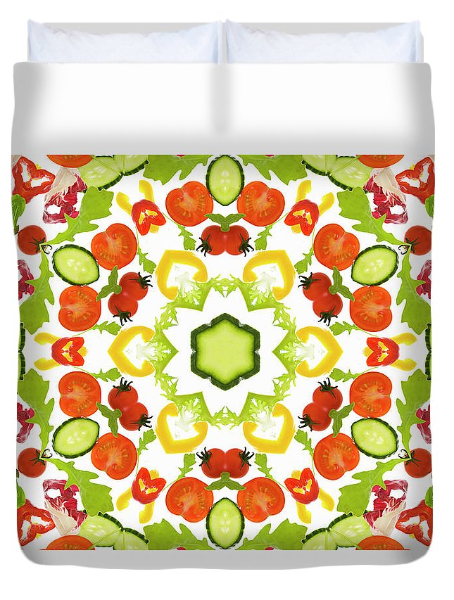 White Background Duvet Cover featuring the photograph A Kaleidoscope Image Of Salad Vegetables by Andrew Bret Wallis