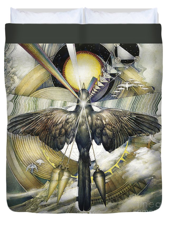 Storey Duvet Cover featuring the photograph A Painting Alludes To Powers That Might Enable Birds To Migrate. by Barron Storey