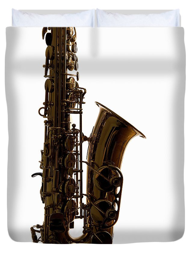 White Background Duvet Cover featuring the photograph A Saxophone, Close-up, Studio Shot by Halfdark
