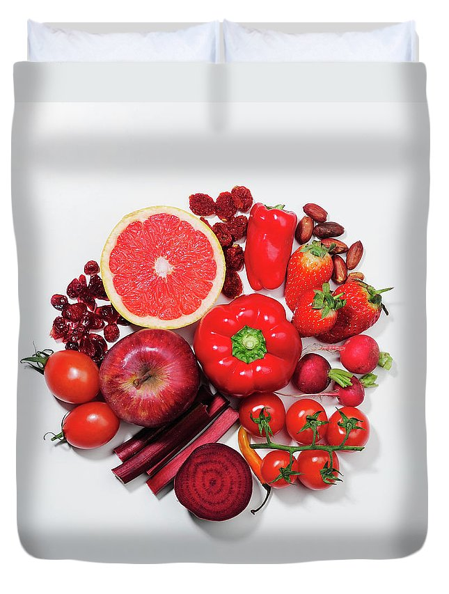 White Background Duvet Cover featuring the photograph A Selection Of Red Fruits & Vegetables by David Malan