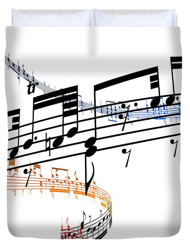 Sheet Music Duvet Cover featuring the digital art A Stave Of Music by Ian Mckinnell