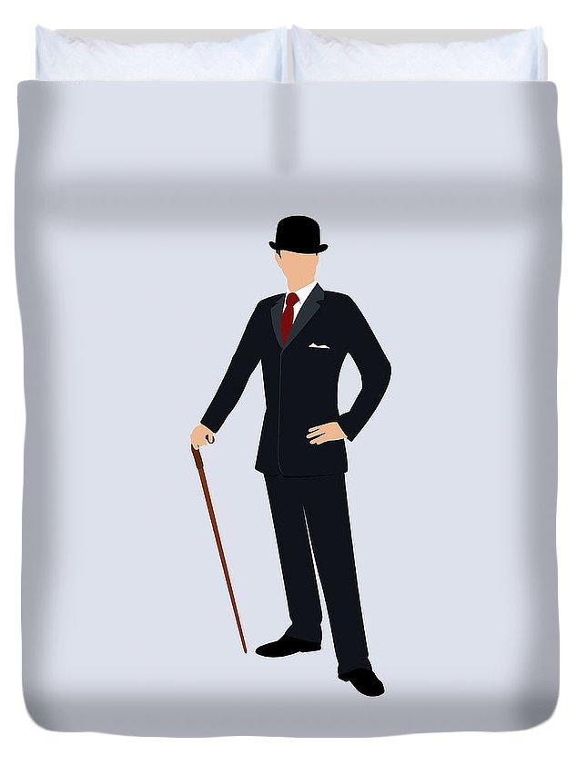 Three Quarter Length Duvet Cover featuring the digital art A Stereotypical British Gentleman by Ralf Hiemisch