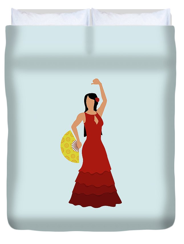 Human Arm Duvet Cover featuring the digital art A Stereotypical Spanish Woman Dressed by Ralf Hiemisch