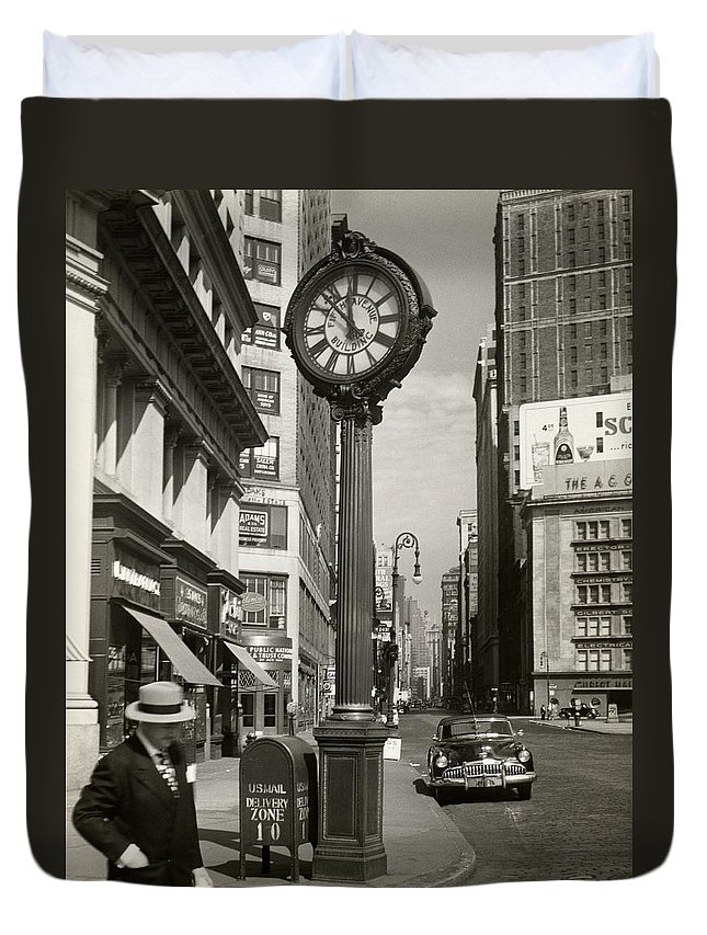 Public Mailbox Duvet Cover featuring the photograph A Street Clock On Fifth Ave., Nyc by George Marks