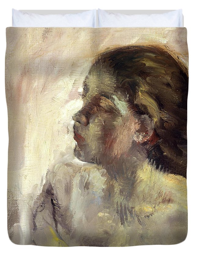 Edgar Degas Duvet Cover featuring the painting A Study Of A Girl's Head, 1870 by Edgar Degas