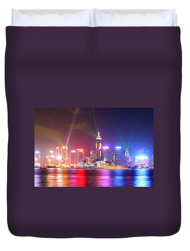 Tranquility Duvet Cover featuring the photograph A Symphony Of Lights by Liu Wai Yip Even