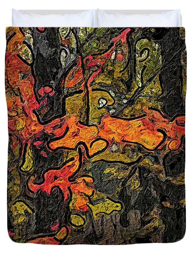 Forest Duvet Cover featuring the painting A Time In The Woods by C L Lassila