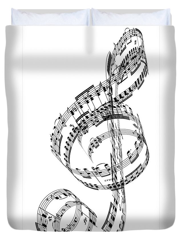 Sheet Music Duvet Cover featuring the digital art A Treble Clef Made From Beethovens by Ian Mckinnell