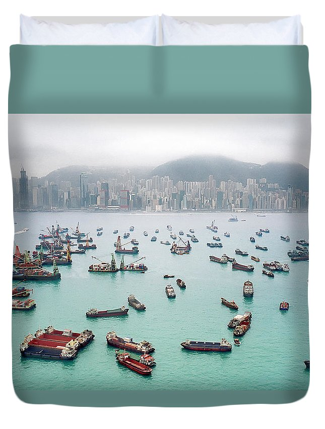 Trading Duvet Cover featuring the photograph A View Of Hong Kong Harbor Through A by Xpacifica