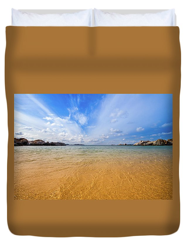 Tranquility Duvet Cover featuring the photograph A View Of The Caribbean Sea From The by Lotus Carroll