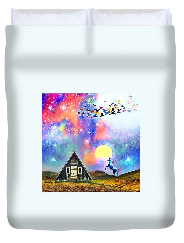 Duvet Cover featuring the digital art Abode of the Artificial-Dreamer Zero by Sureyya Dipsar