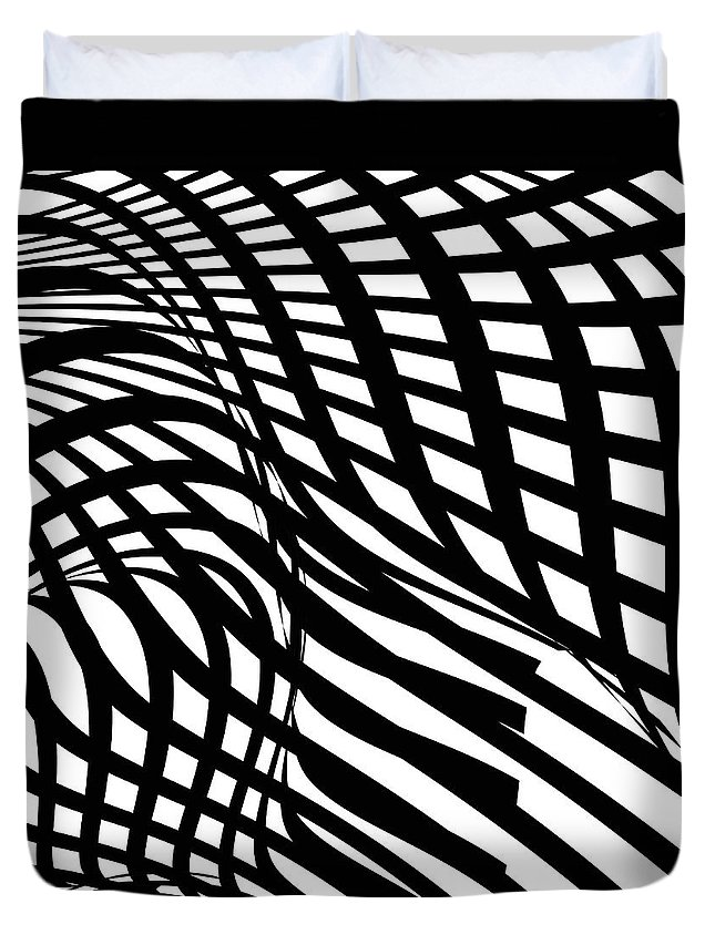Curve Duvet Cover featuring the digital art Abstract Black And White Stripe Shape by Shuoshu