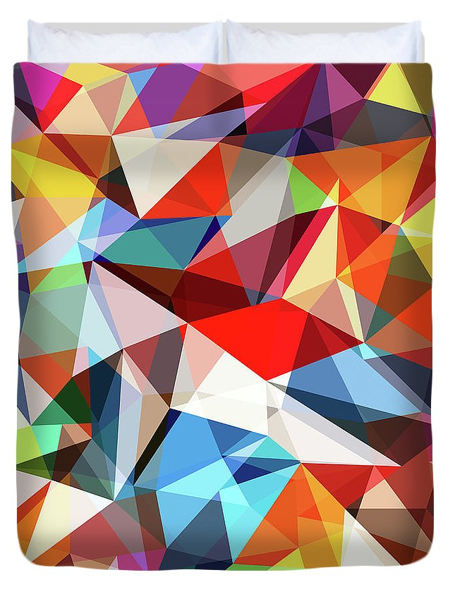 Art Duvet Cover featuring the digital art Abstract Colorful Geometrical Background by Natrot