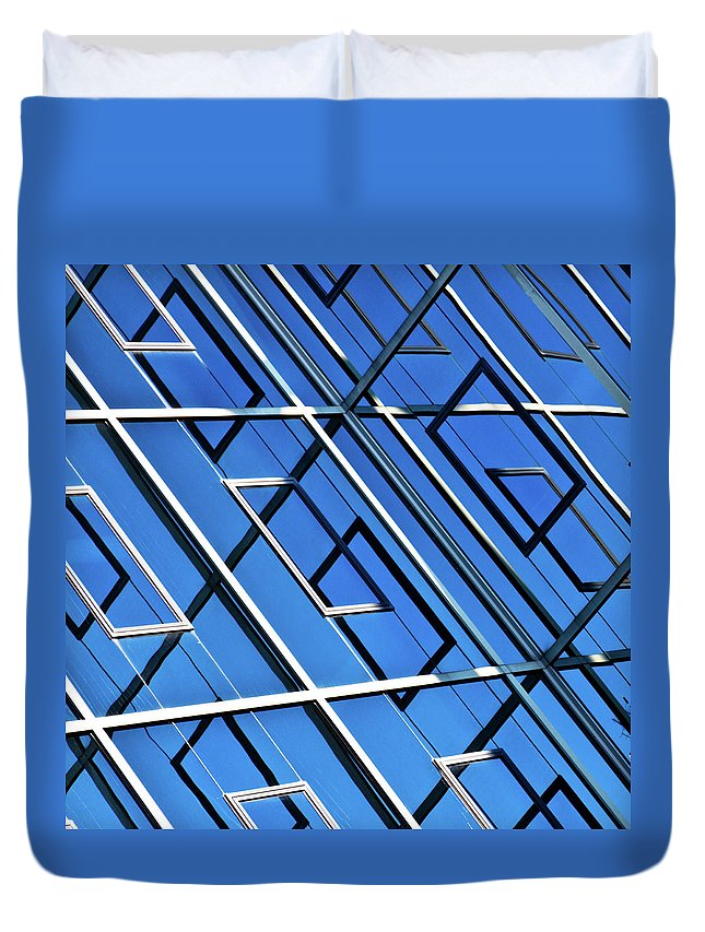 Outdoors Duvet Cover featuring the photograph Abstract Geometric Reflection by By Fabrice Geslin