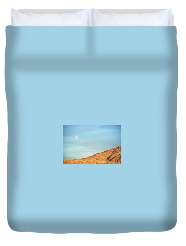 Scenics Duvet Cover featuring the photograph Abstract Landscape Mountain Moon by Amygdala imagery