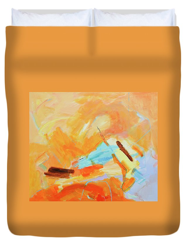 Oil Painting Duvet Cover featuring the digital art Abstract Oil Painting by Balticboy