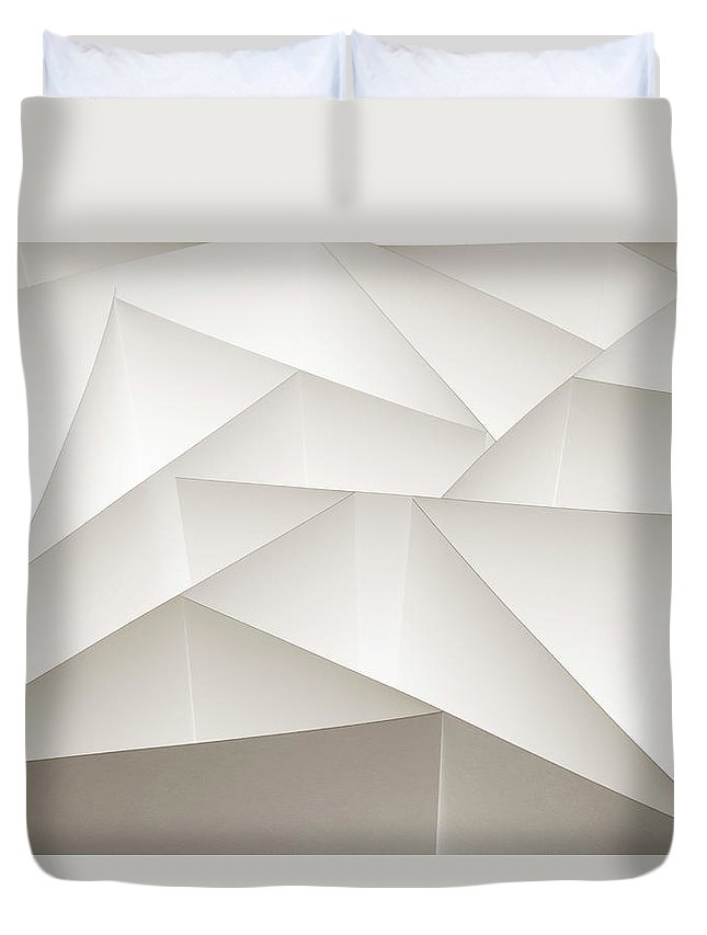 White Background Duvet Cover featuring the photograph Abstract Paper Design by Paul Taylor