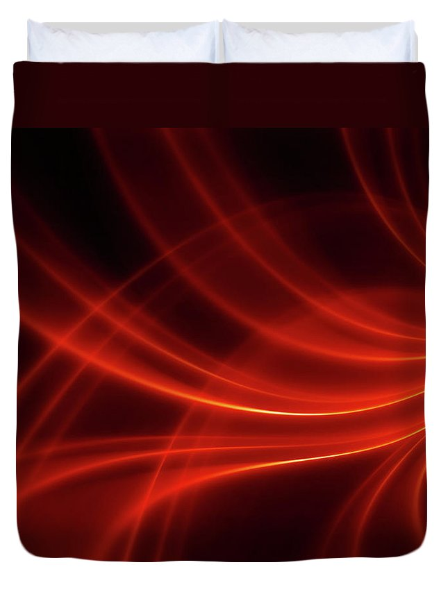 Three Dimensional Duvet Cover featuring the photograph Abstract Red Dynamic Lines Backgrounds by Hh5800