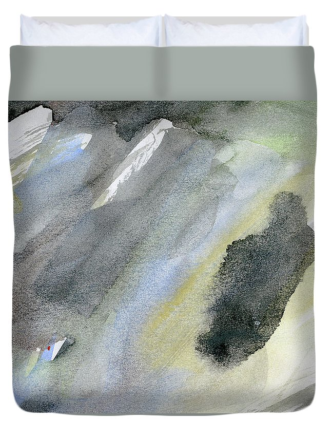 Gouache Duvet Cover featuring the digital art Abstract Watercolor Painted by Petekarici