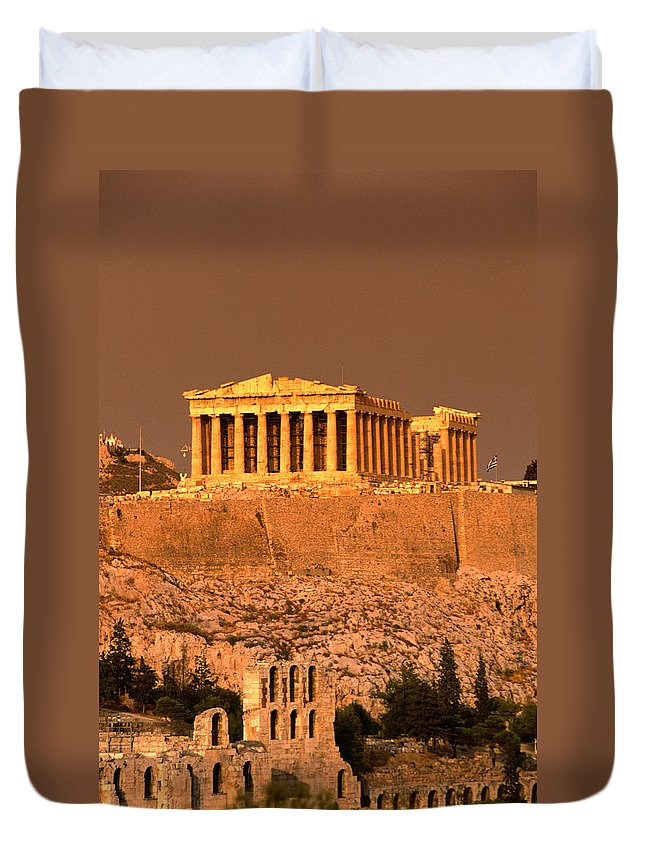 Greek Culture Duvet Cover featuring the photograph Acropolis And Parthenon From Filopappou by Lonely Planet