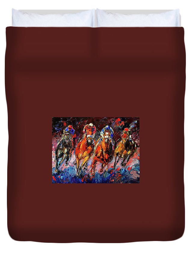 Horse Race Duvet Cover featuring the painting Adrenalin by Debra Hurd