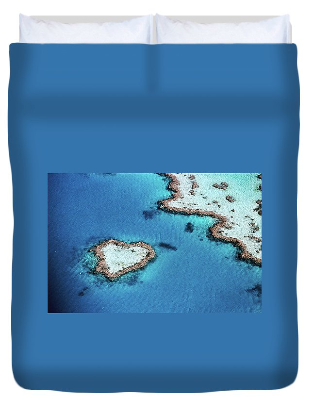 Dramatic Landscape Duvet Cover featuring the photograph Aerial Of Heart-shaped Reef, Hardy by Holger Leue