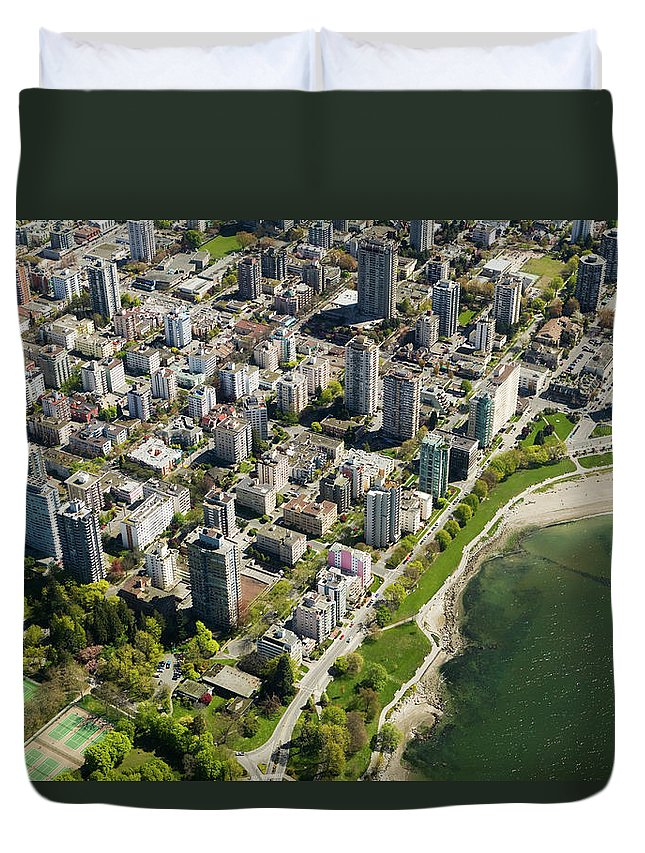 Outdoors Duvet Cover featuring the photograph Aerial Of West End, Vancouver by Lucidio Studio, Inc.