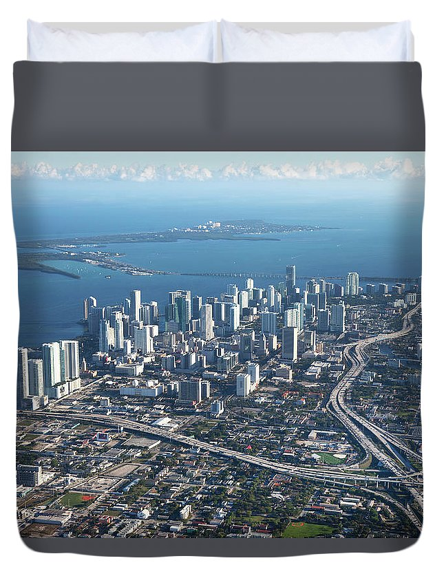 Outdoors Duvet Cover featuring the photograph Aerial View Of Miami by Buena Vista Images
