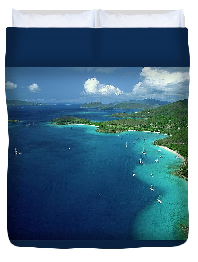 Sailboat Duvet Cover featuring the photograph Aerial View Of Shoreline by Don Hebert
