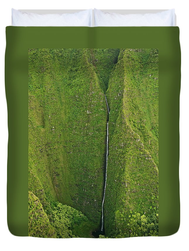 Scenics Duvet Cover featuring the photograph Aerial View Of Waterfall In Narrow by Enrique R. Aguirre Aves