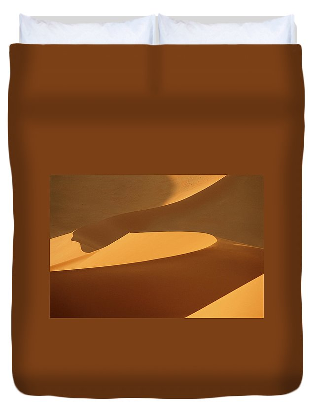 Shadow Duvet Cover featuring the photograph Africa, Namibia, Sand Dunes, Full Frame by Peter Adams