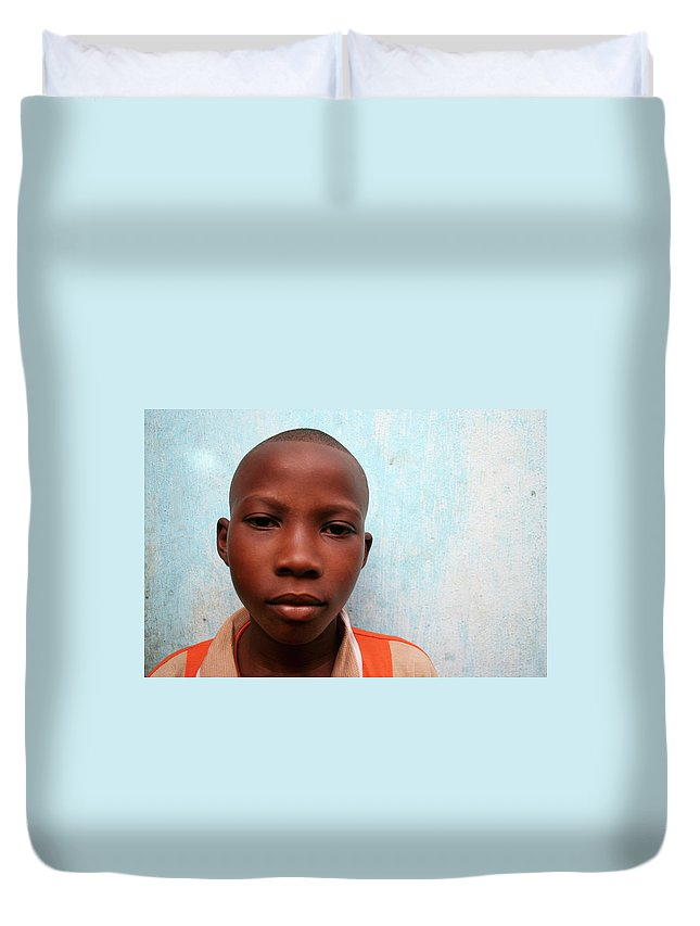 Education Duvet Cover featuring the photograph African Boy by Peeterv