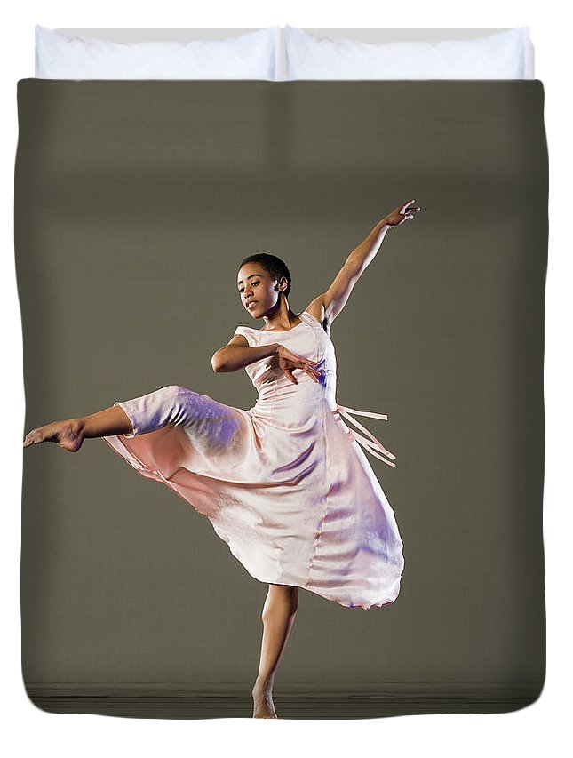 Ballet Dancer Duvet Cover featuring the photograph African Female Ballet Dancer Dancing by Erik Isakson