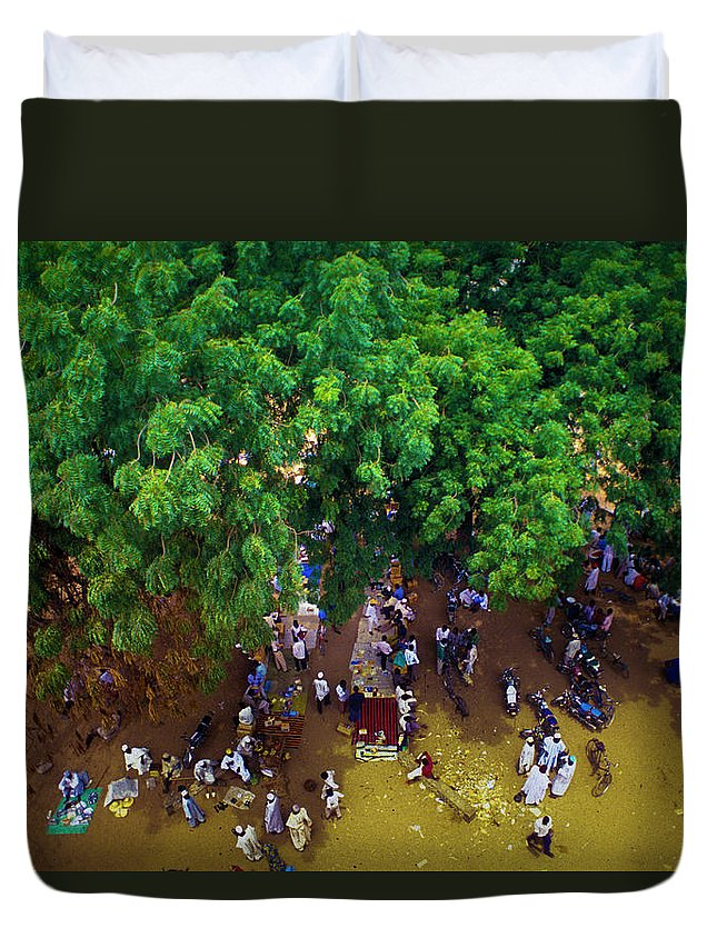 People Duvet Cover featuring the photograph African Market by Marco Vacca